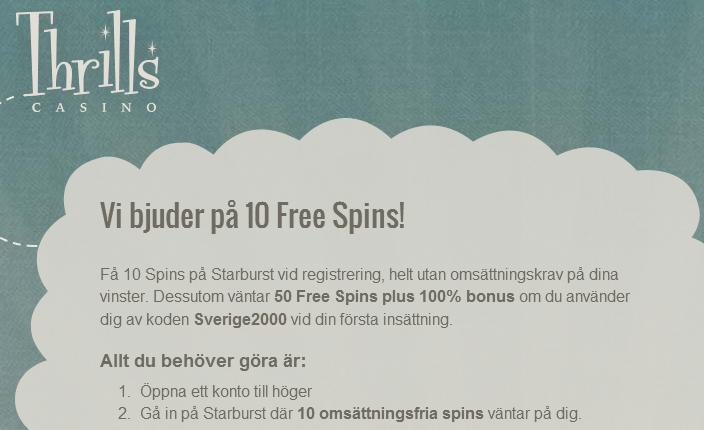 10 freespins hos Thrills