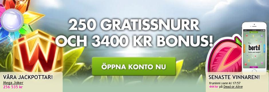 bertil 250 freespins