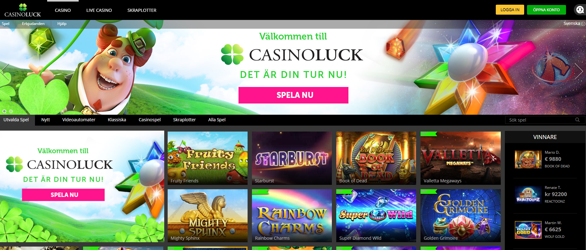 CasinoLuck casino lobby